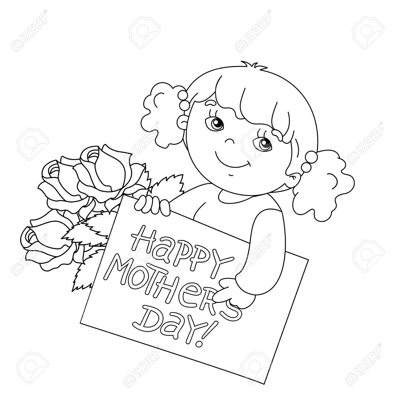 Coloring Page Outline Of Cute Girl With A Card For Mother\'s Day ...