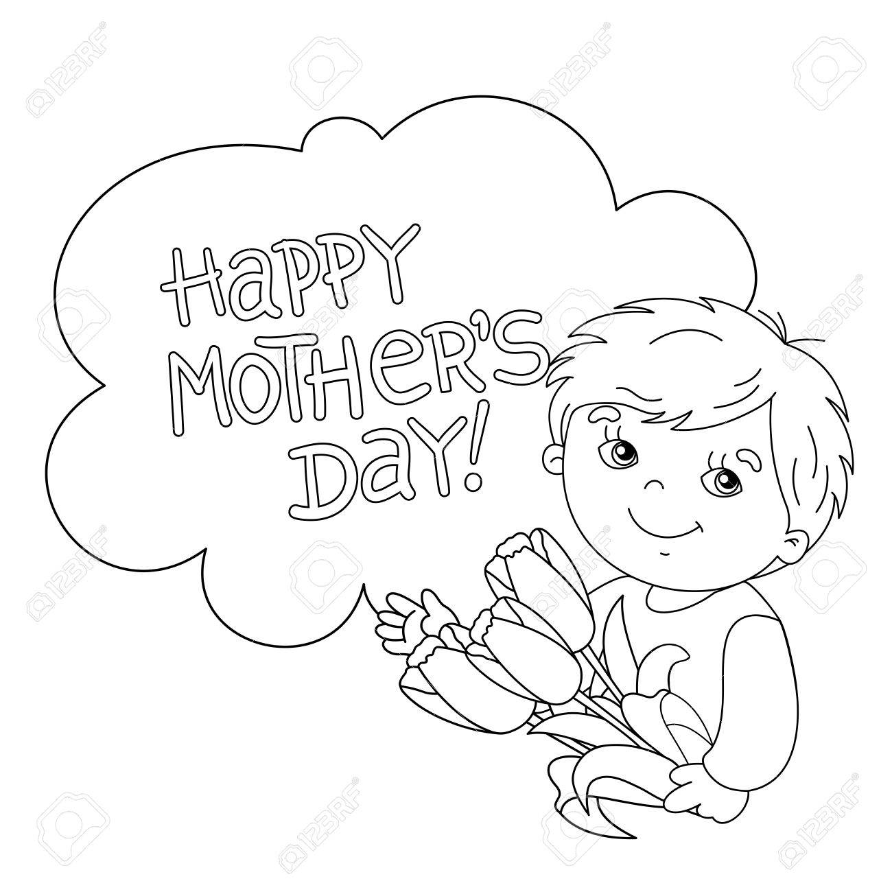 Coloring Page Outline Of Cute Boy With Bouquet Tulips Mothers Day Stock Vector