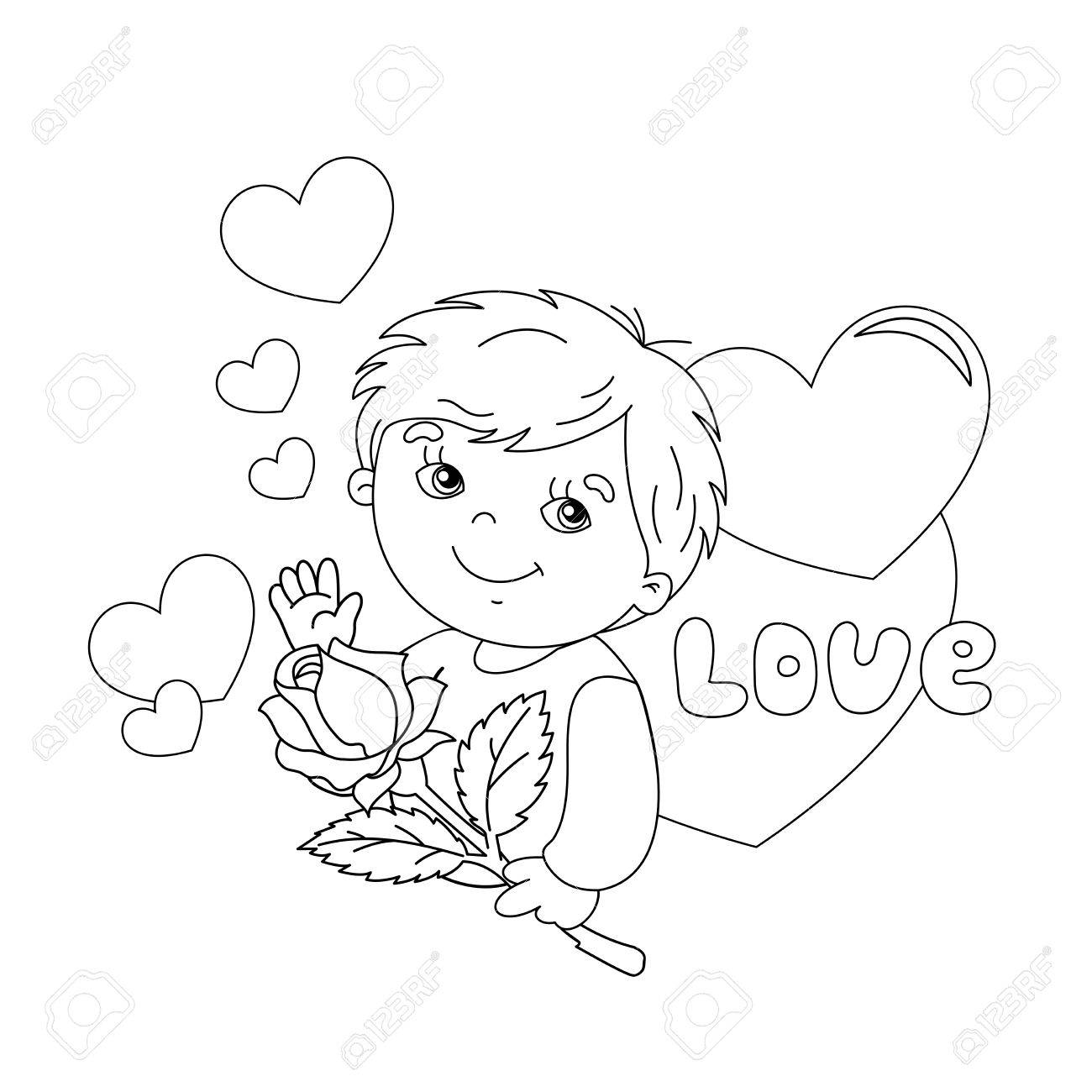 Coloring Page Outline Of Cute Boy With Rose In Hand With Hearts ...