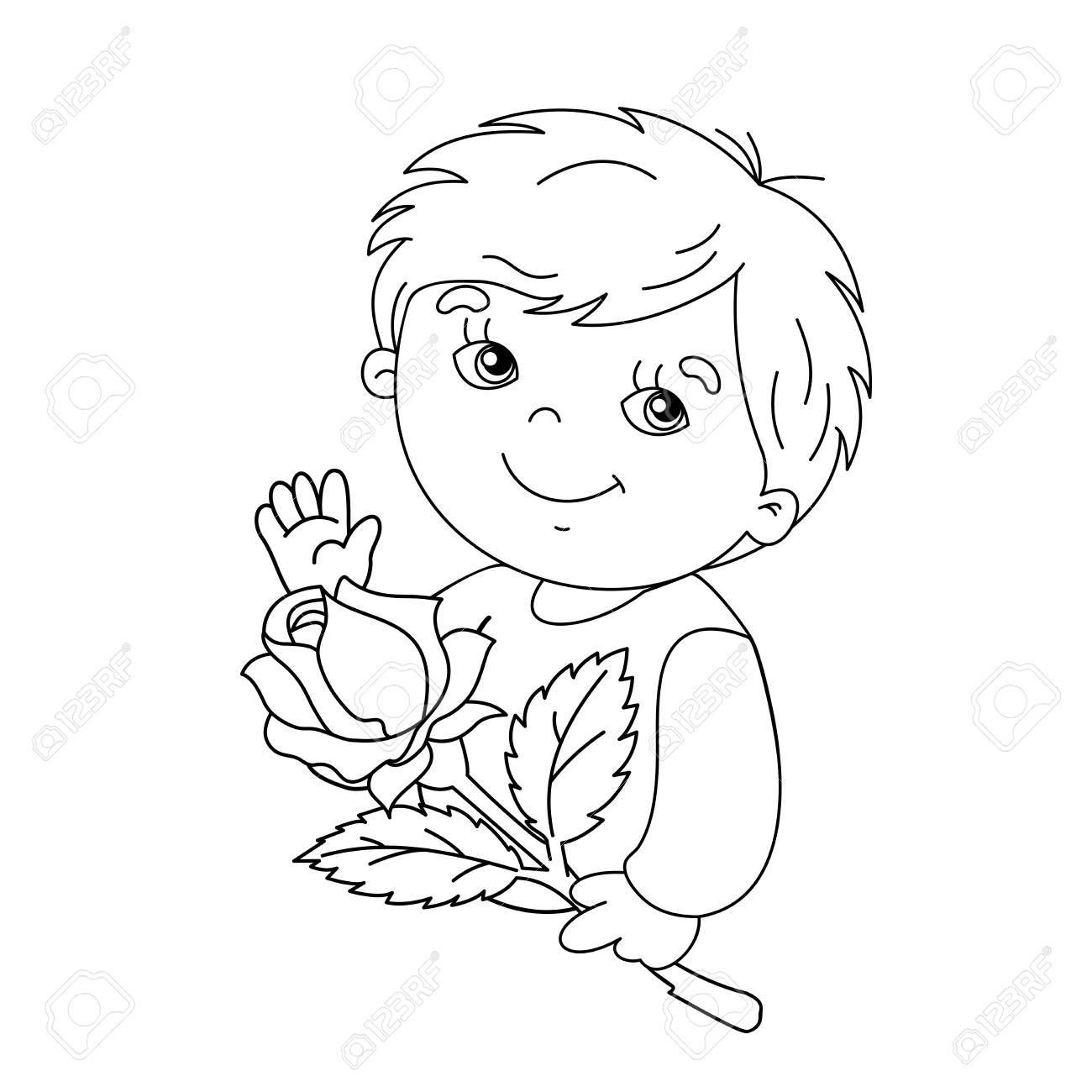 Dibujo Para Colorear Silueta De Un Niño Lindo Con La Rosa En La Mano