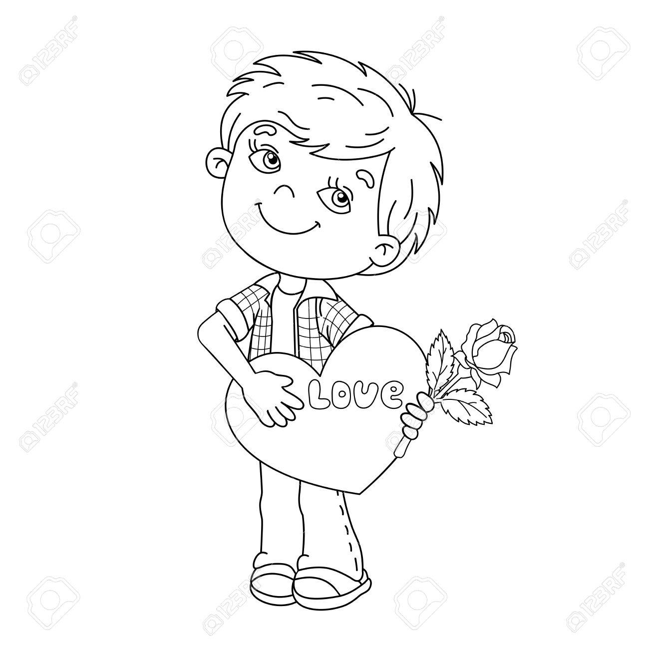 Coloring Page Outline Of Cartoon Boy With Rose In Hand With Heart ...