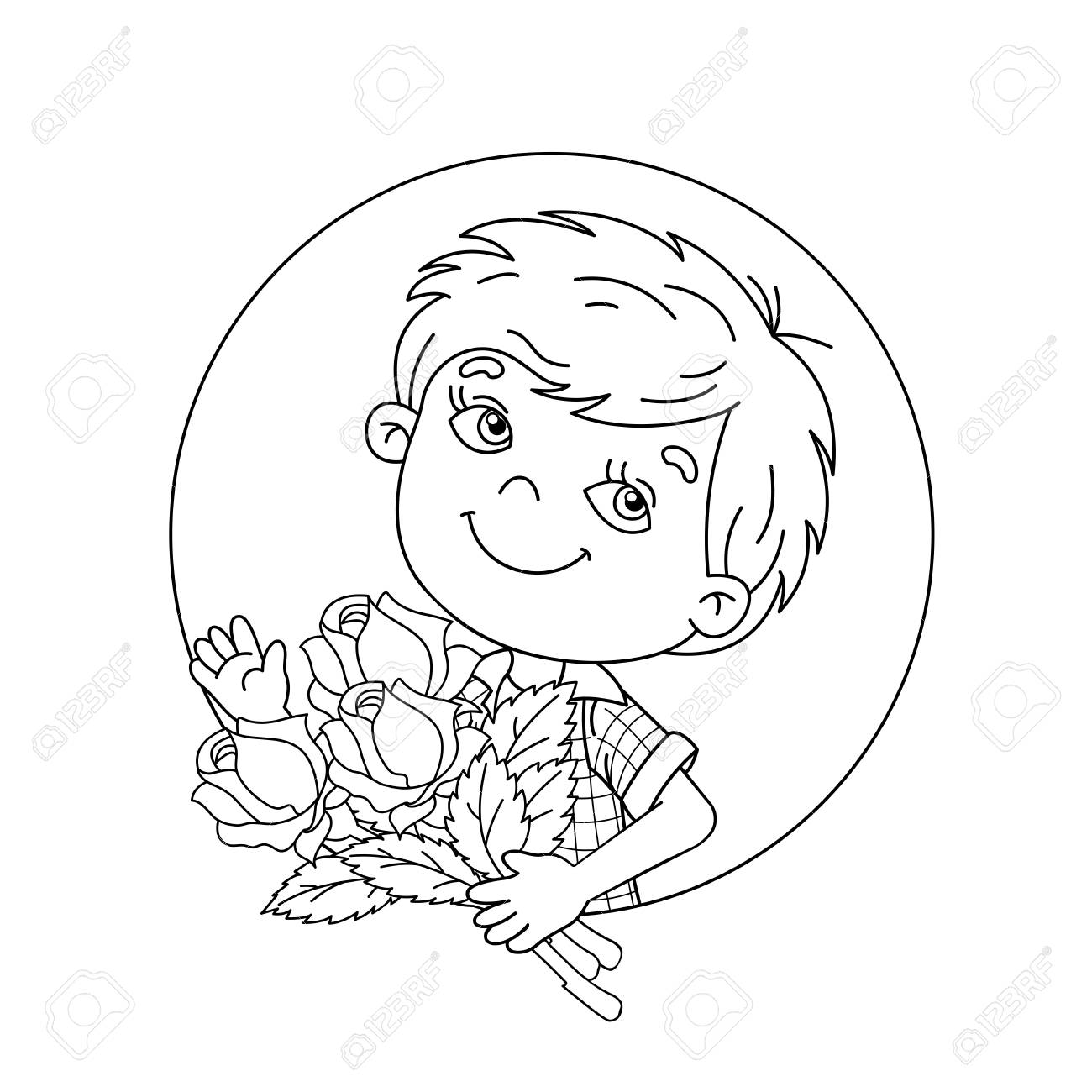 Coloring Page Outline Of Cartoon Boy Holding A Bouquet Of Roses