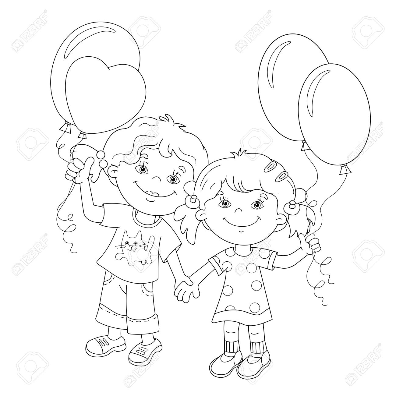 coloring page outline of cartoon girls holding hands with balloons coloring book for kids stock