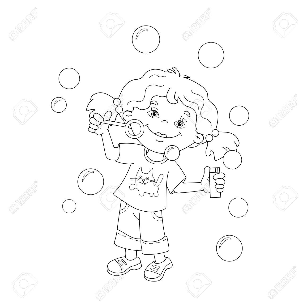 Página Para Colorear Esquema De Dibujos Animados Chica Soplando ...