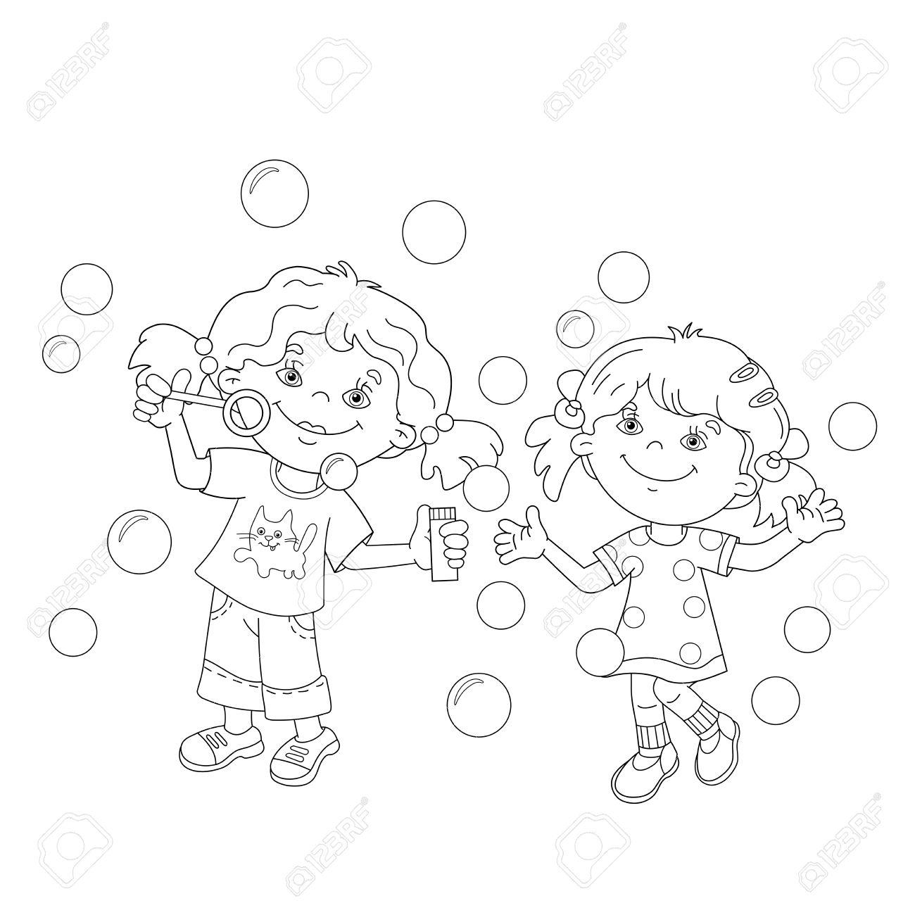 ぬりえページ概要の漫画の女の子一緒にシャボン玉を吹いています子供の