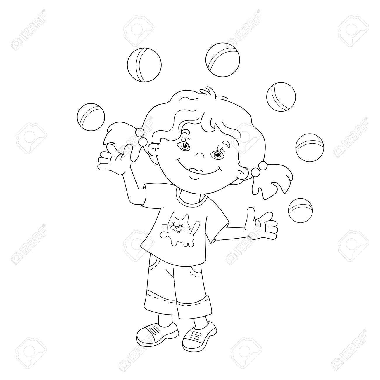 Página Para Colorear Esquema De Niña De Dibujos Animados Haciendo Malabarismos Con Las Pelotas Libro De Colorear Para Niños