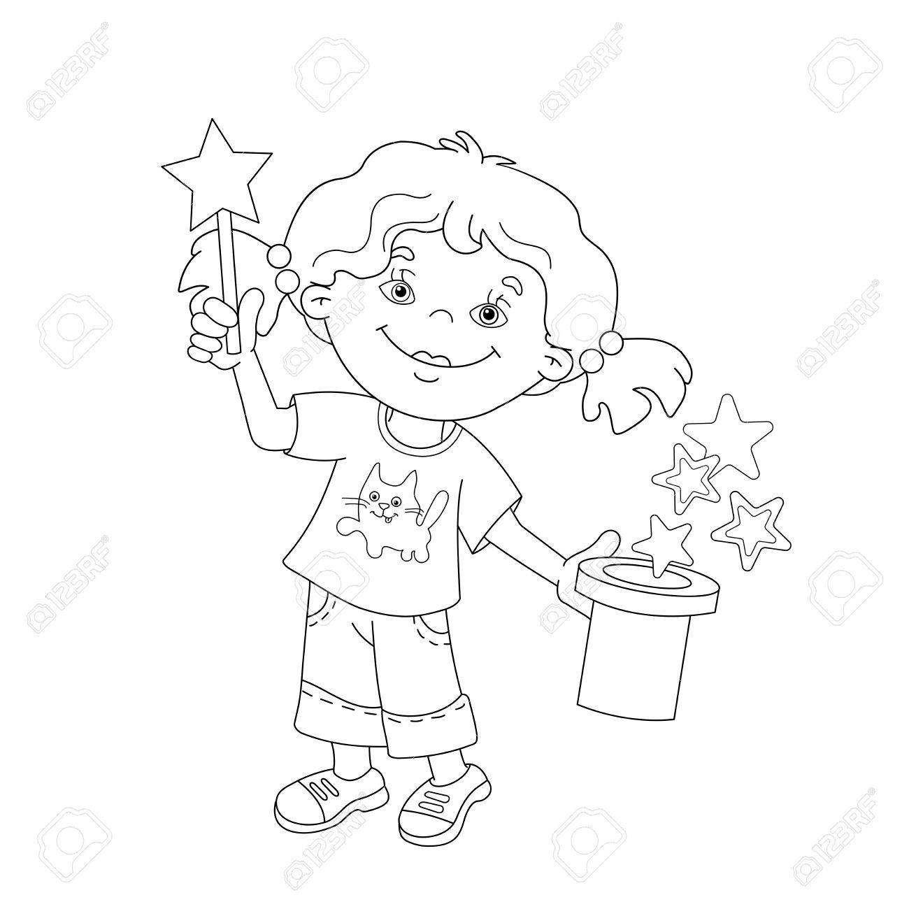 Coloriage Contour De Fille De Bande Dessinée Montrant La Mise Au Point Avec Une Baguette Magique Livre De Coloriage Pour Les Enfants