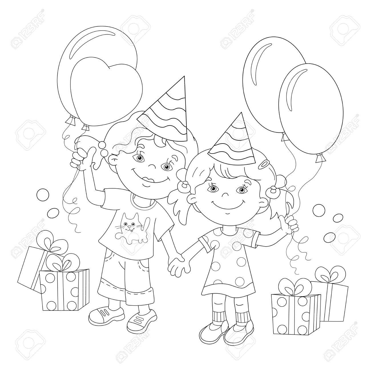 Coloring Page Outline Of Cartoon Girls With A Gift At The Holiday Book For