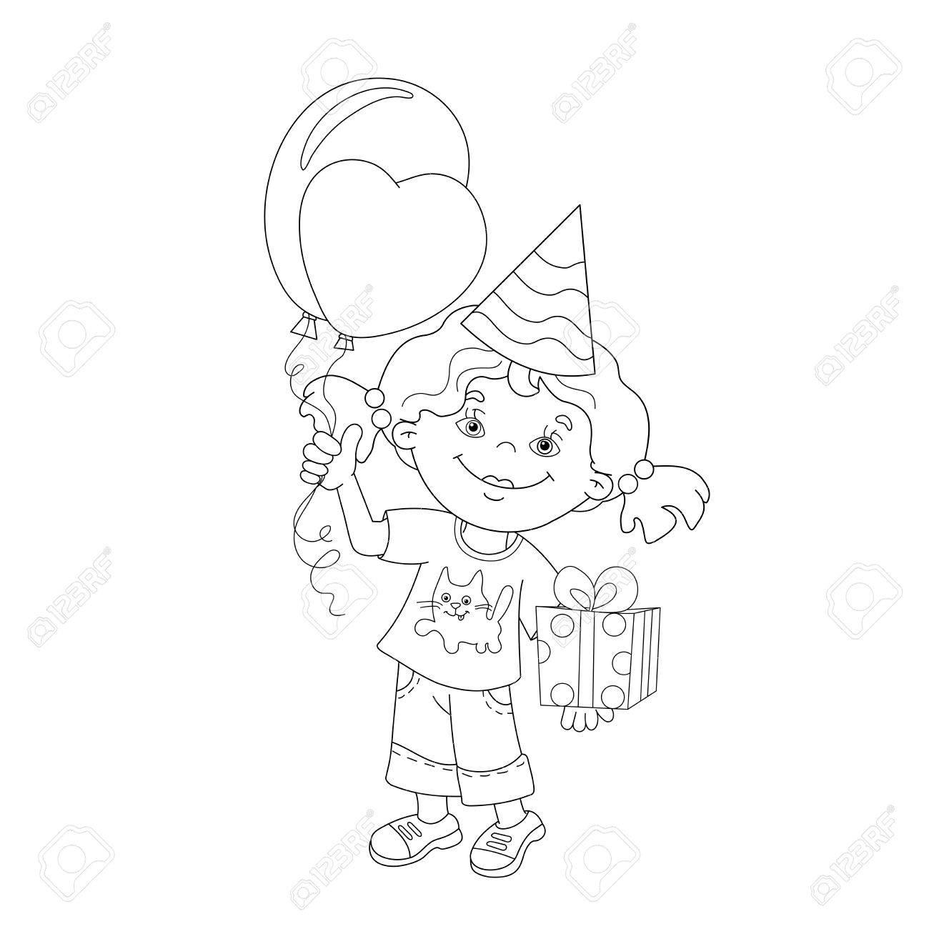 Página Para Colorear Esquema De Niña De Dibujos Animados Con El Regalo Y Globos Libro De Colorear Para Niños