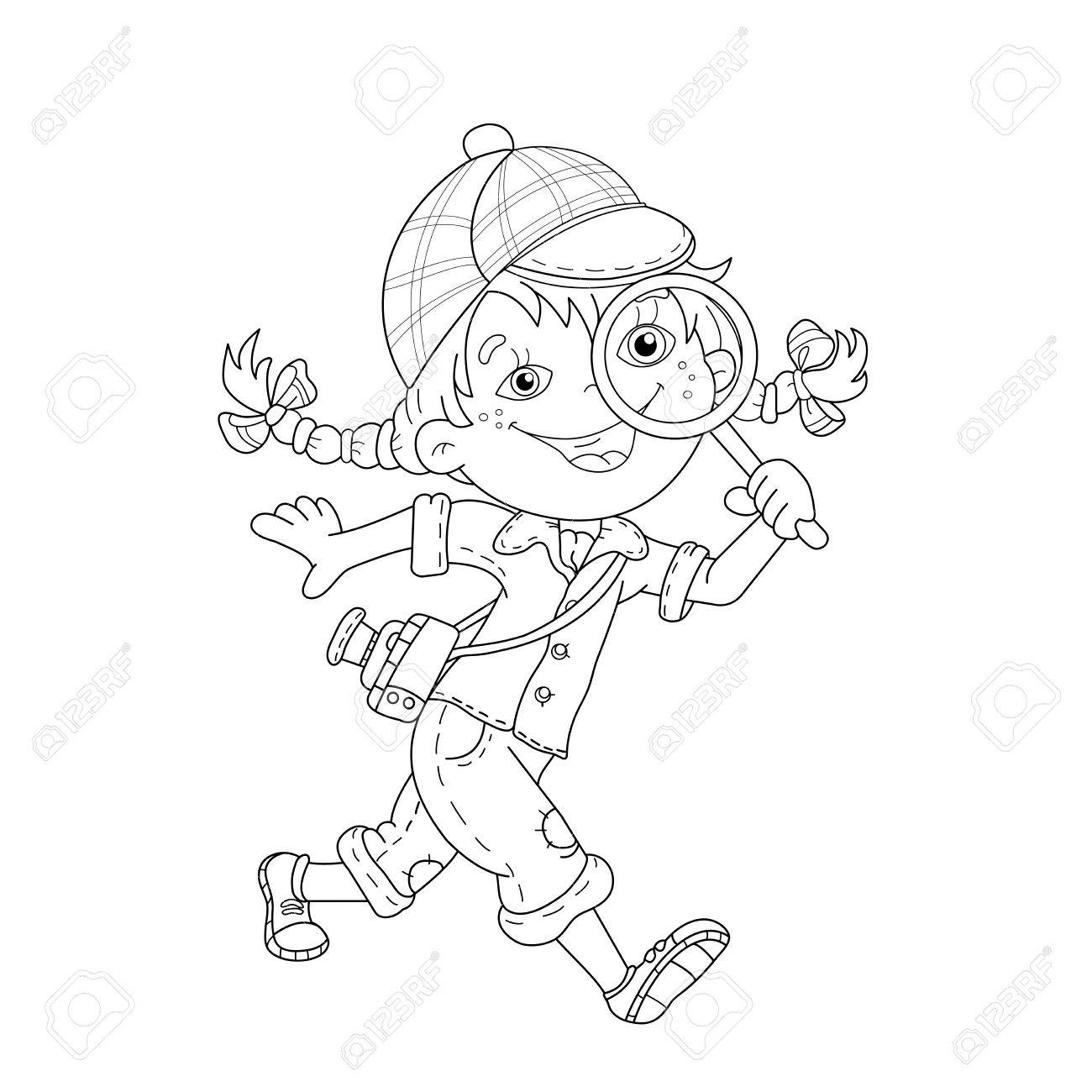 coloring page outline of cartoon detective with loupe