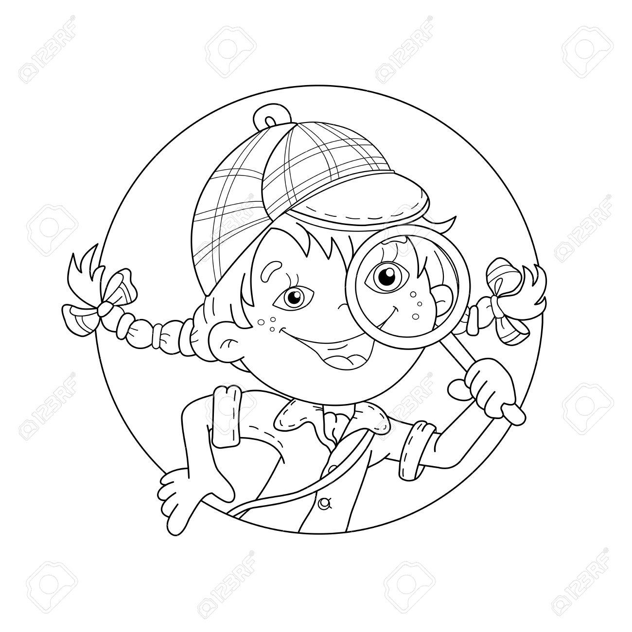Página Para Colorear Esquema De Detective Niña De Dibujos Animados