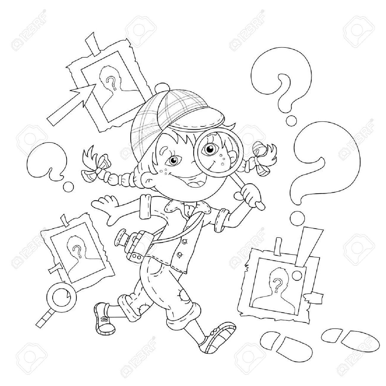 Página Para Colorear Esquema De Detective Niña De Dibujos Animados ...
