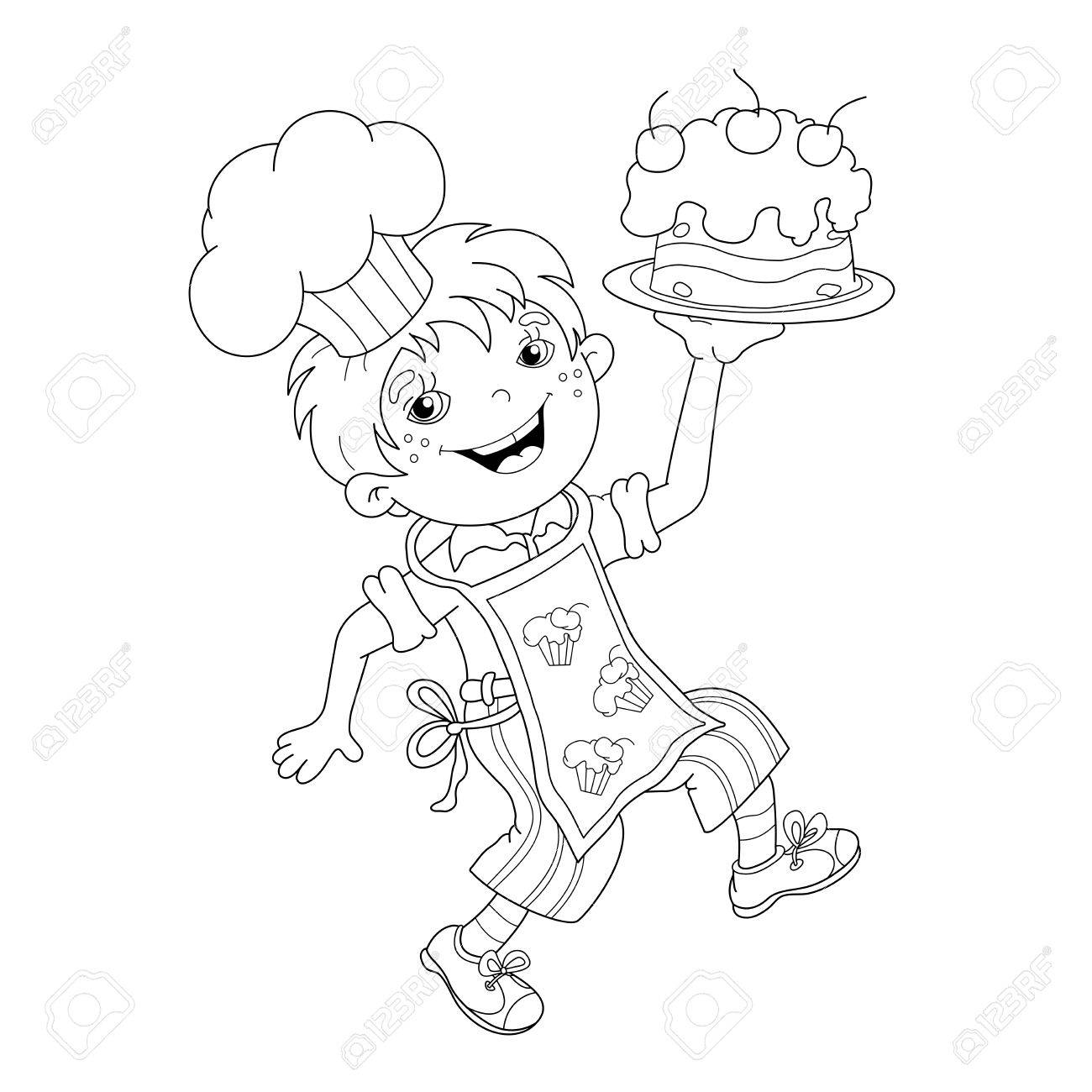 Coloring Page Outline Of Cartoon Boy Chef With Cake. Coloring ...