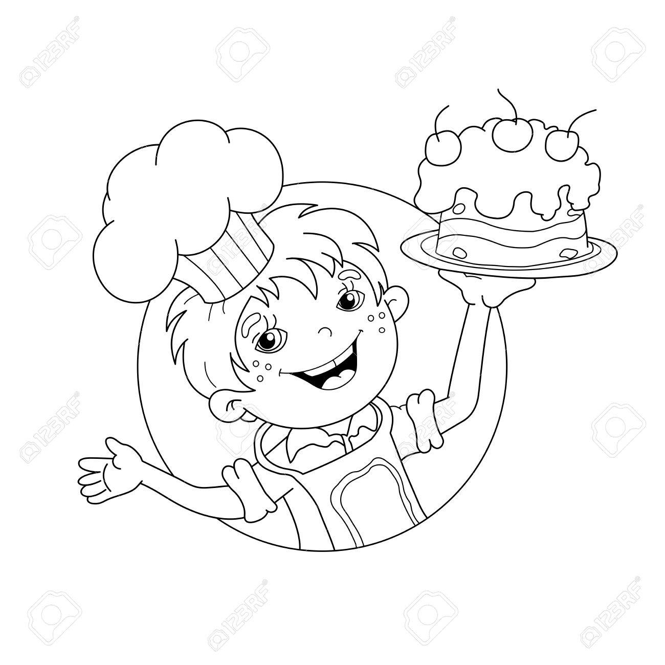 Coloring Page Outline Of Cartoon Boy Chef With Cake Book For Kids Stock Vector