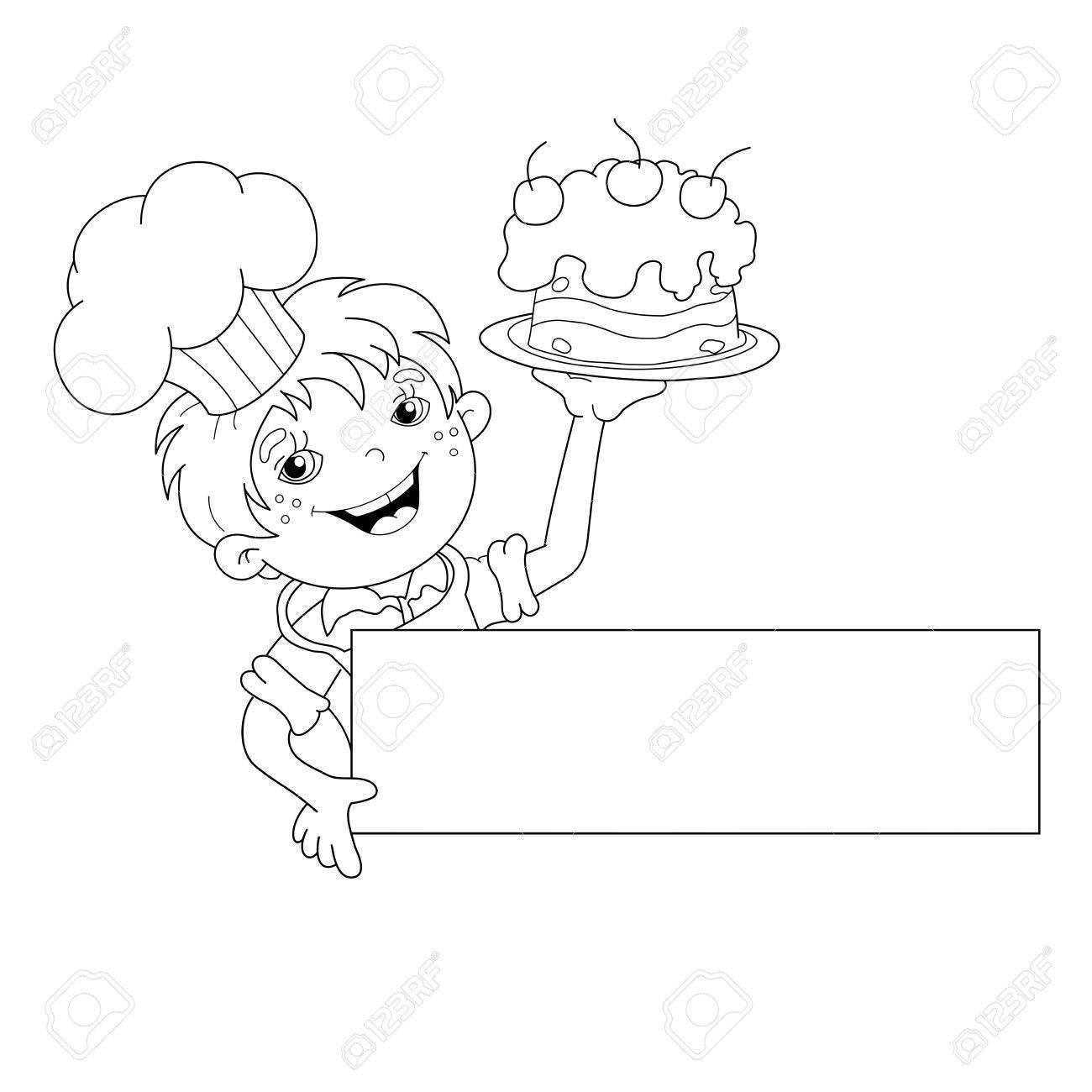 Página Para Colorear Esquema Del Niño De Dibujos Animados Cocinero