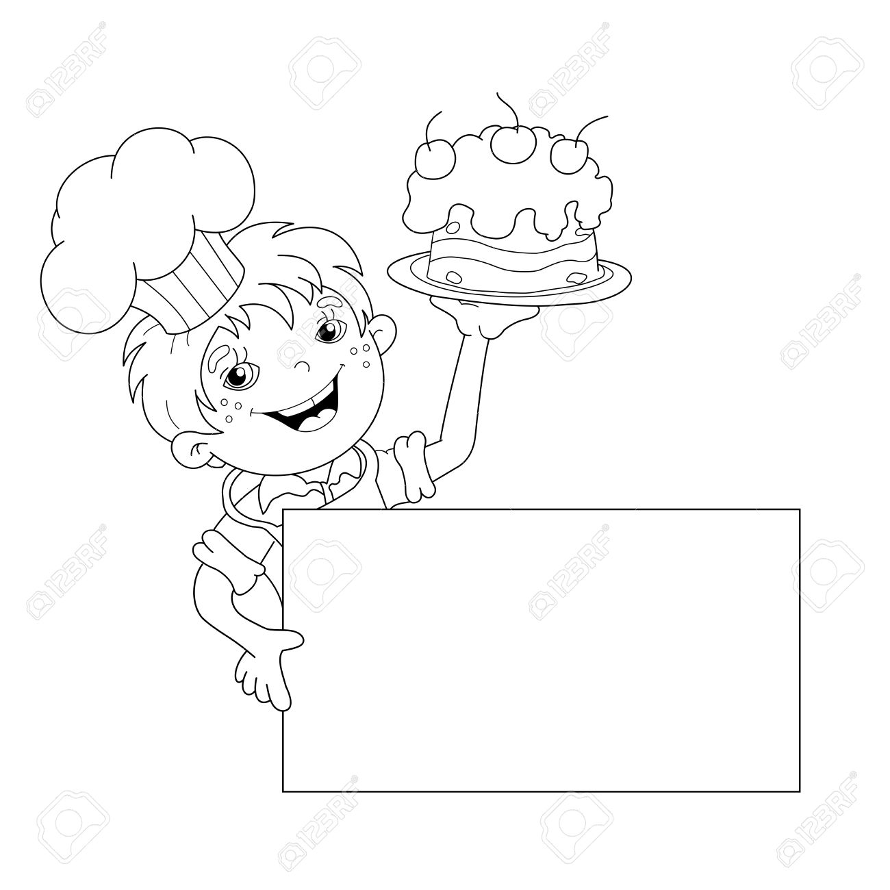 Coloring Page Outline Of Cartoon Boy Chef With Cake Template