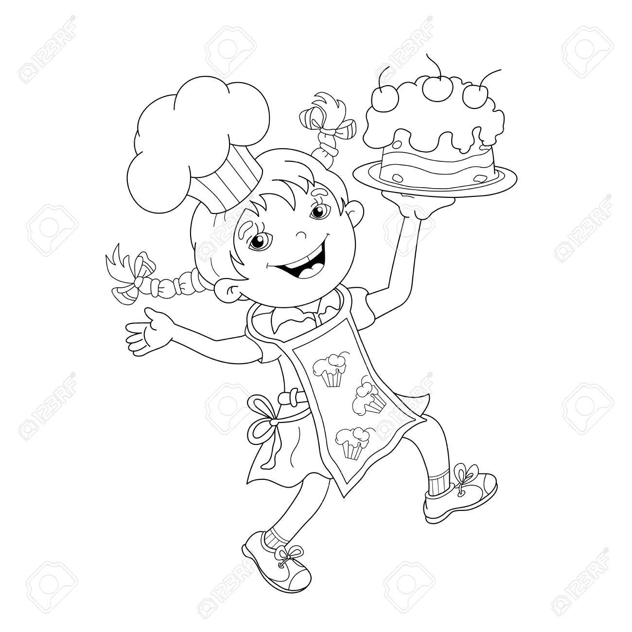 Coloring Page Outline Of Cartoon Girl Chef With Cake Book For Kids Stock Vector