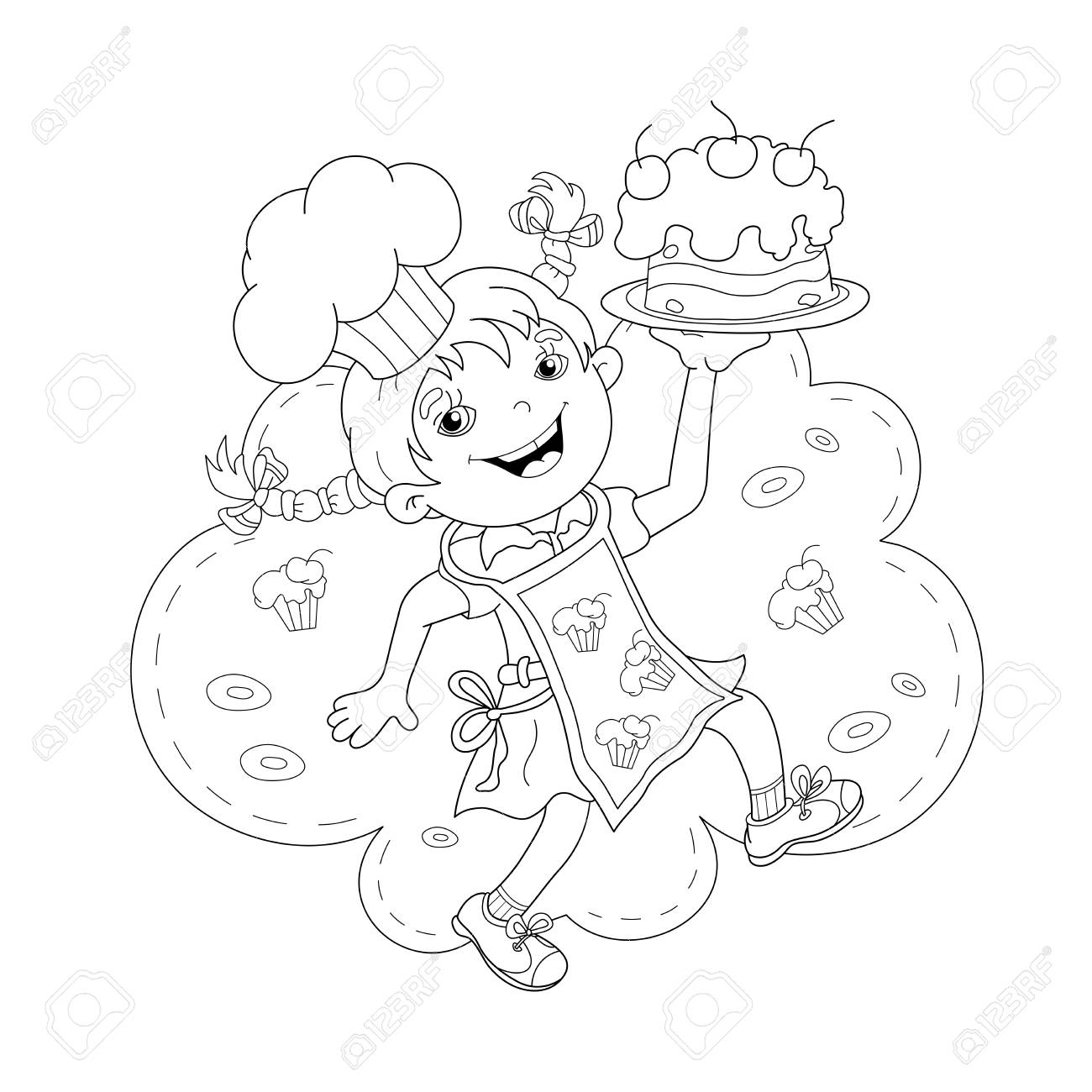Coloring Page Outline Of Cartoon Girl Chef With Cake. Coloring ...