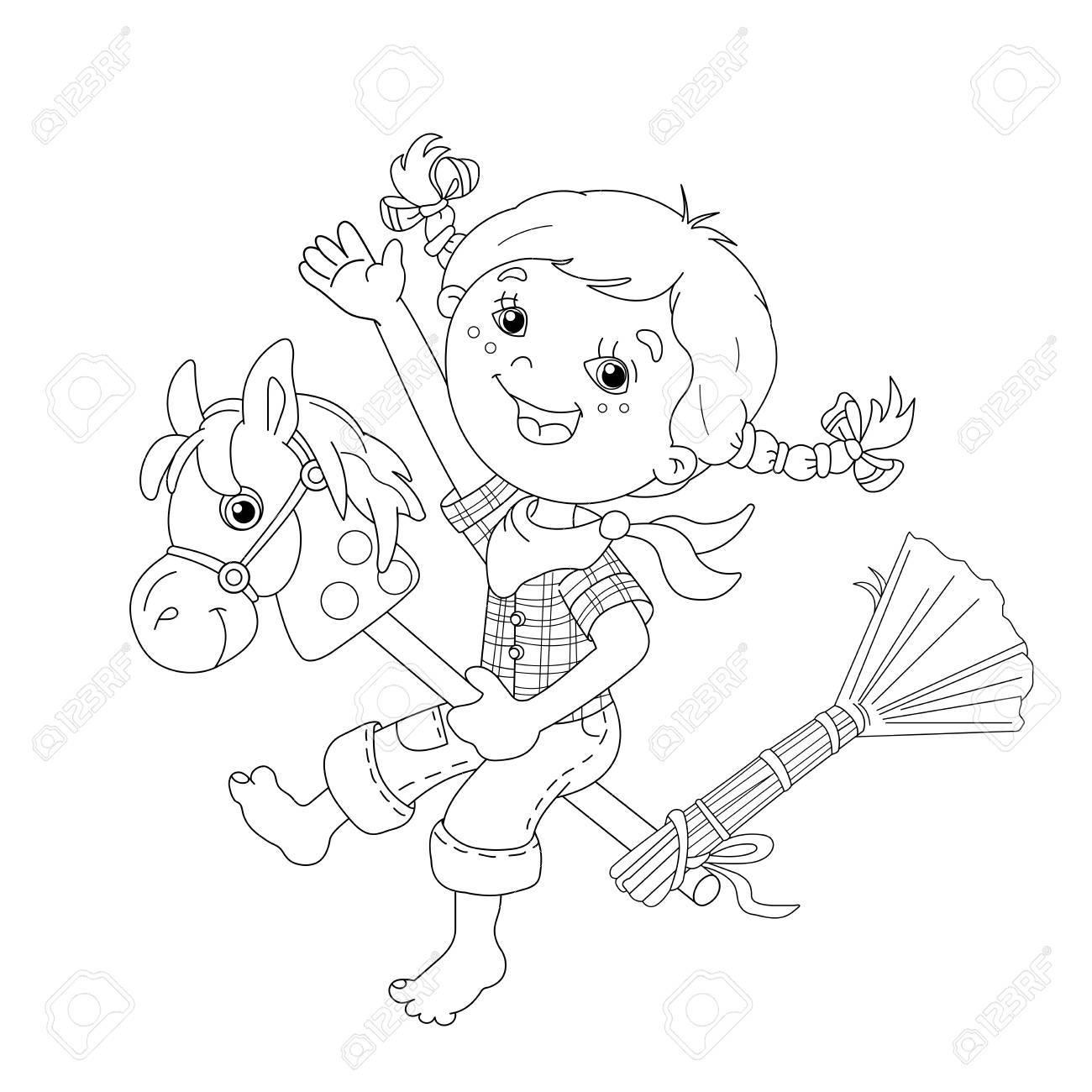 ぬりえページ概要の漫画の女の子のおもちゃの馬とカウボーイの演奏を実行