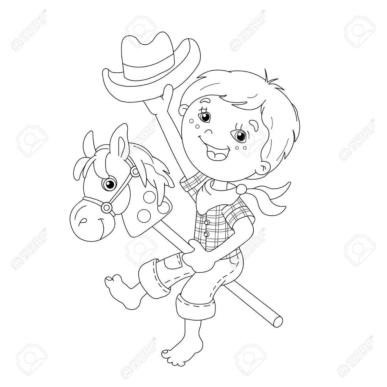 Página Para Colorear Esquema Del Muchacho De La Historieta Que Juega Vaquero Con El Caballo Del Juguete Libro De Colorear Para Niños