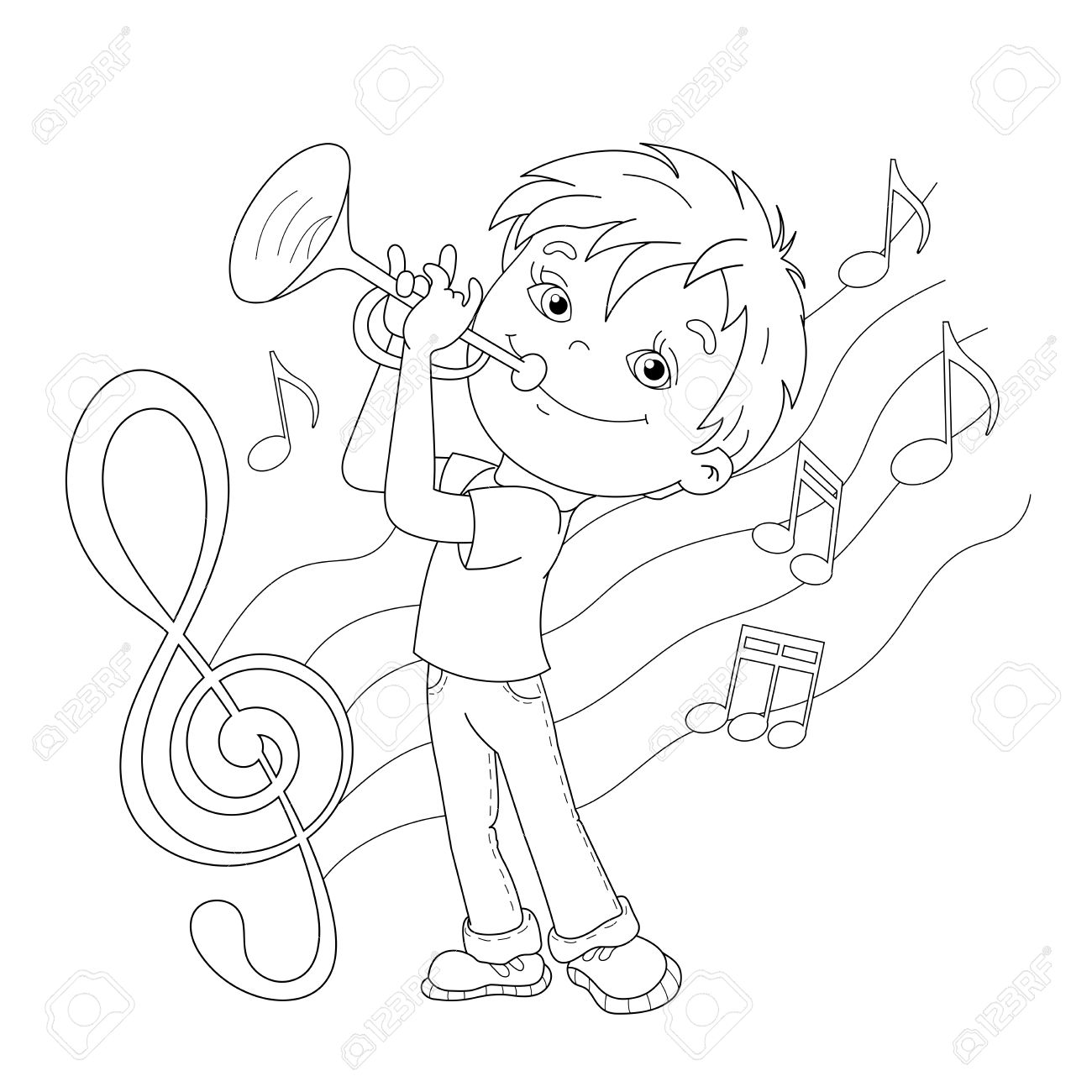 coloring page outline of cartoon boy playing the trumpet with melody and music coloring book