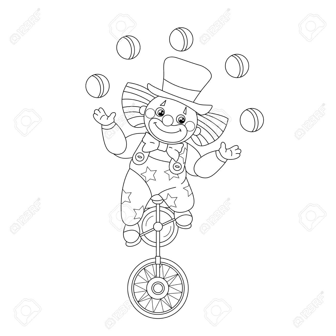 Coloriage Clown Drole.Coloriage Contour D Un Drole De Clown Balles De Jonglage Livre De Coloriage Pour Les Enfants