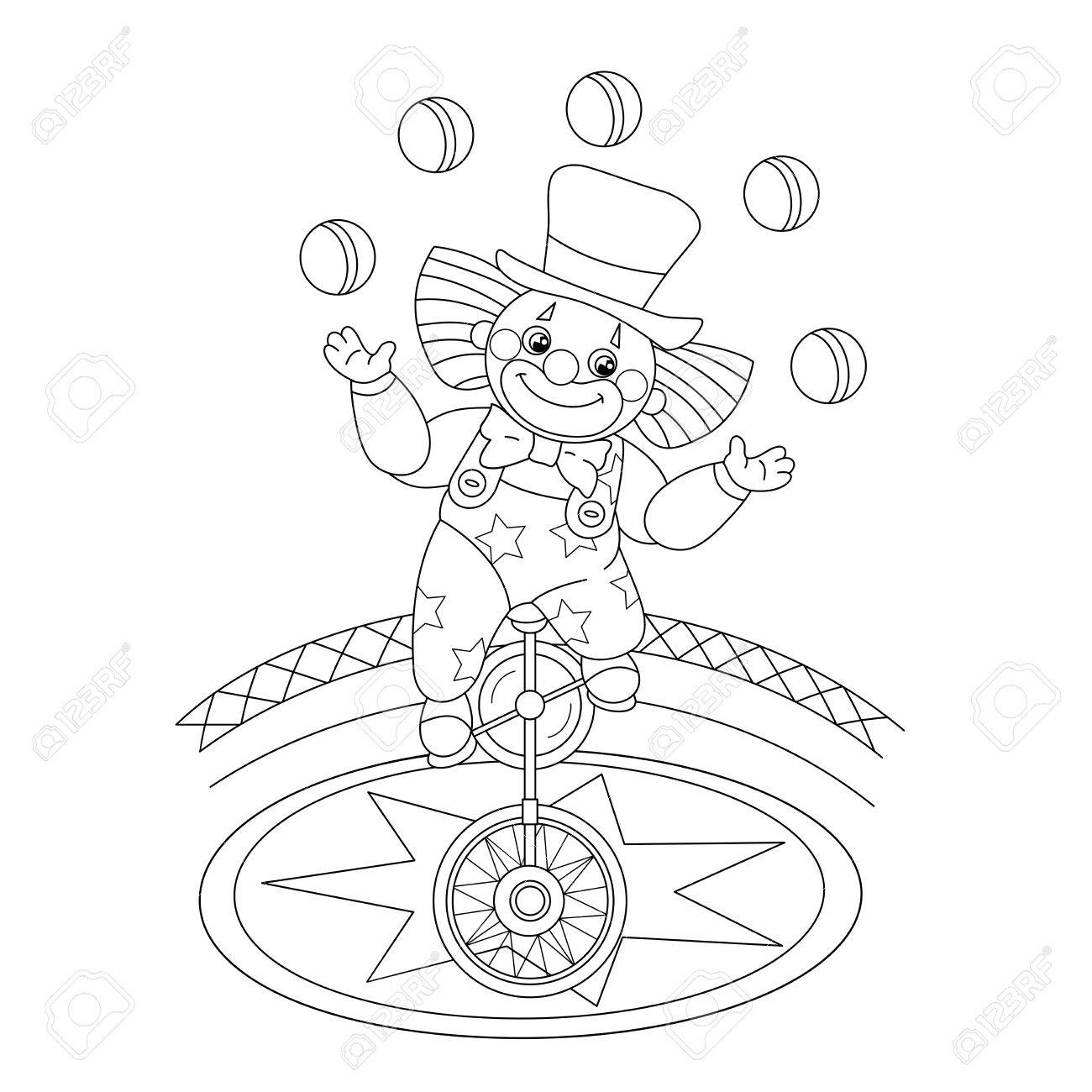 coloring page outline of a funny clown juggling balls coloring