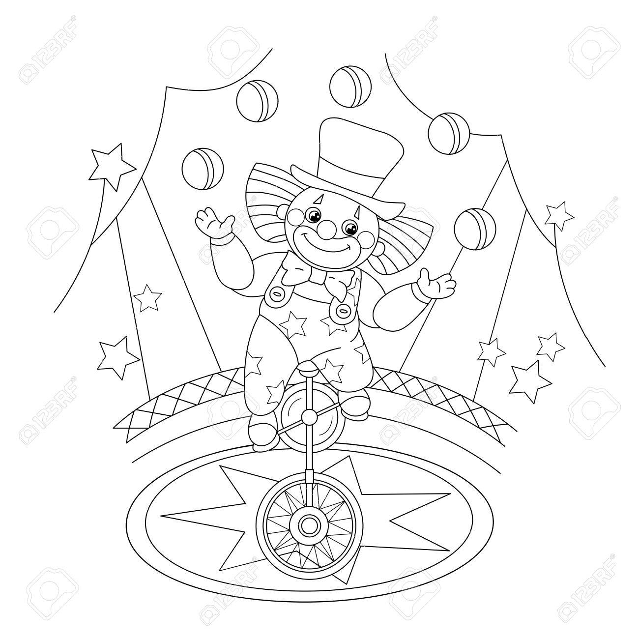 Coloring Page Outline Of A Funny Clown Juggling Balls. Coloring ...