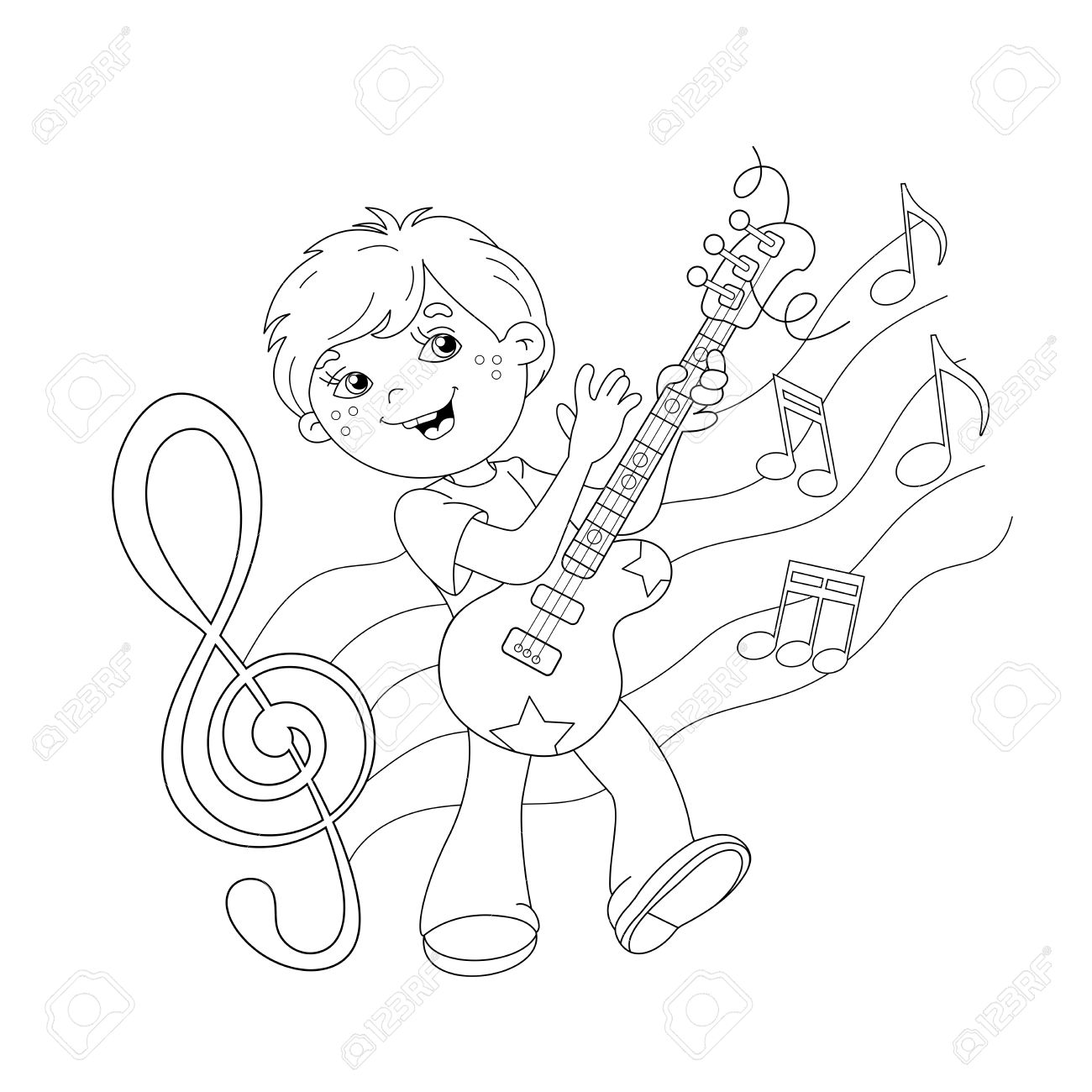 Coloring Page Outline Of Cartoon Boy Playing Guitar On Stage ...