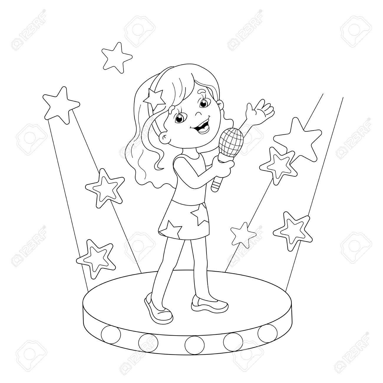 Página Para Colorear Esquema De Niña De Dibujos Animados Cantando ...