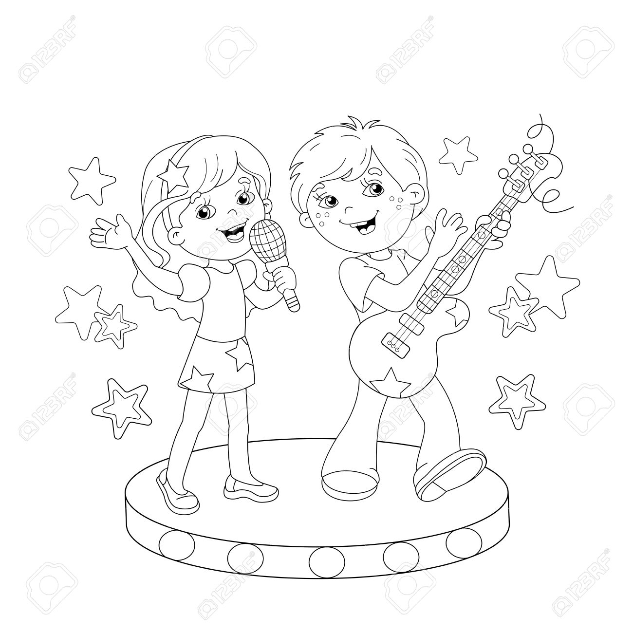 Coloring page outline of cartoon boy and girl singing a song with a guitar on stage