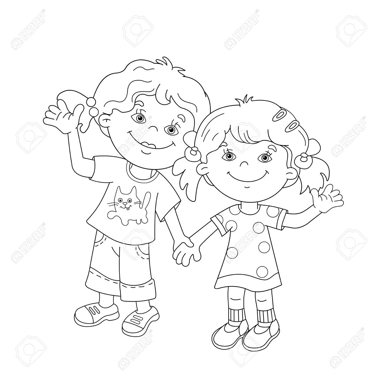 coloring page outline of cartoon girls holding hands coloring book for kids stock vector