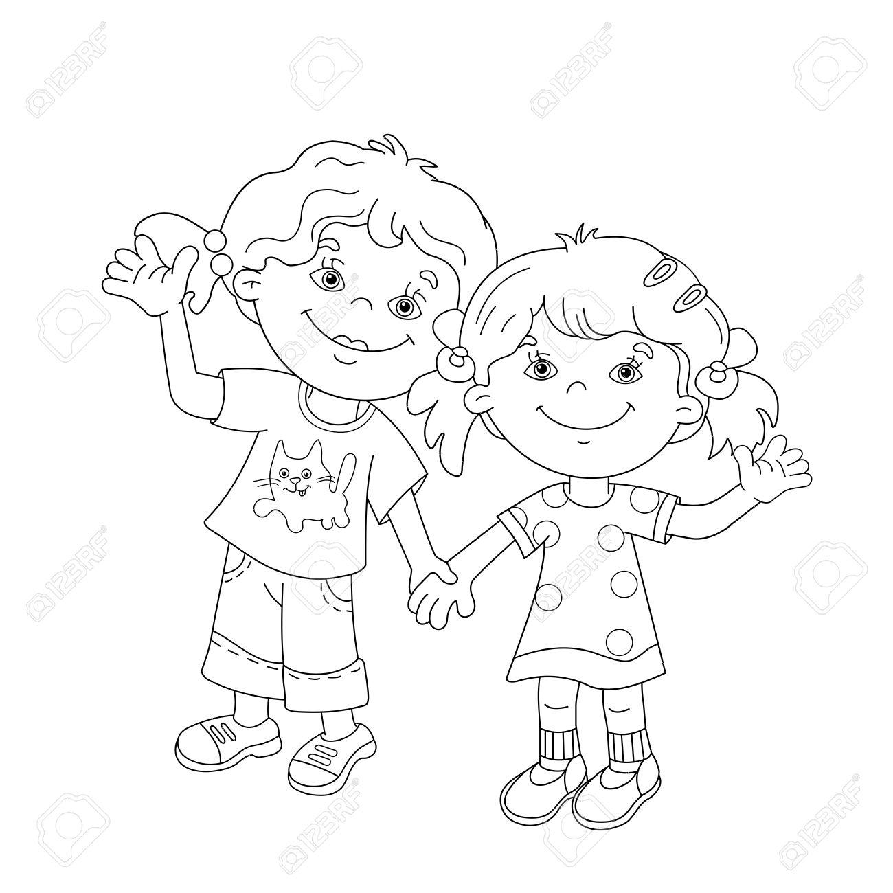 Página Para Colorear Esquema De Las Niñas De Dibujos Animados Con Las Manos Libro De Colorear Para Niños