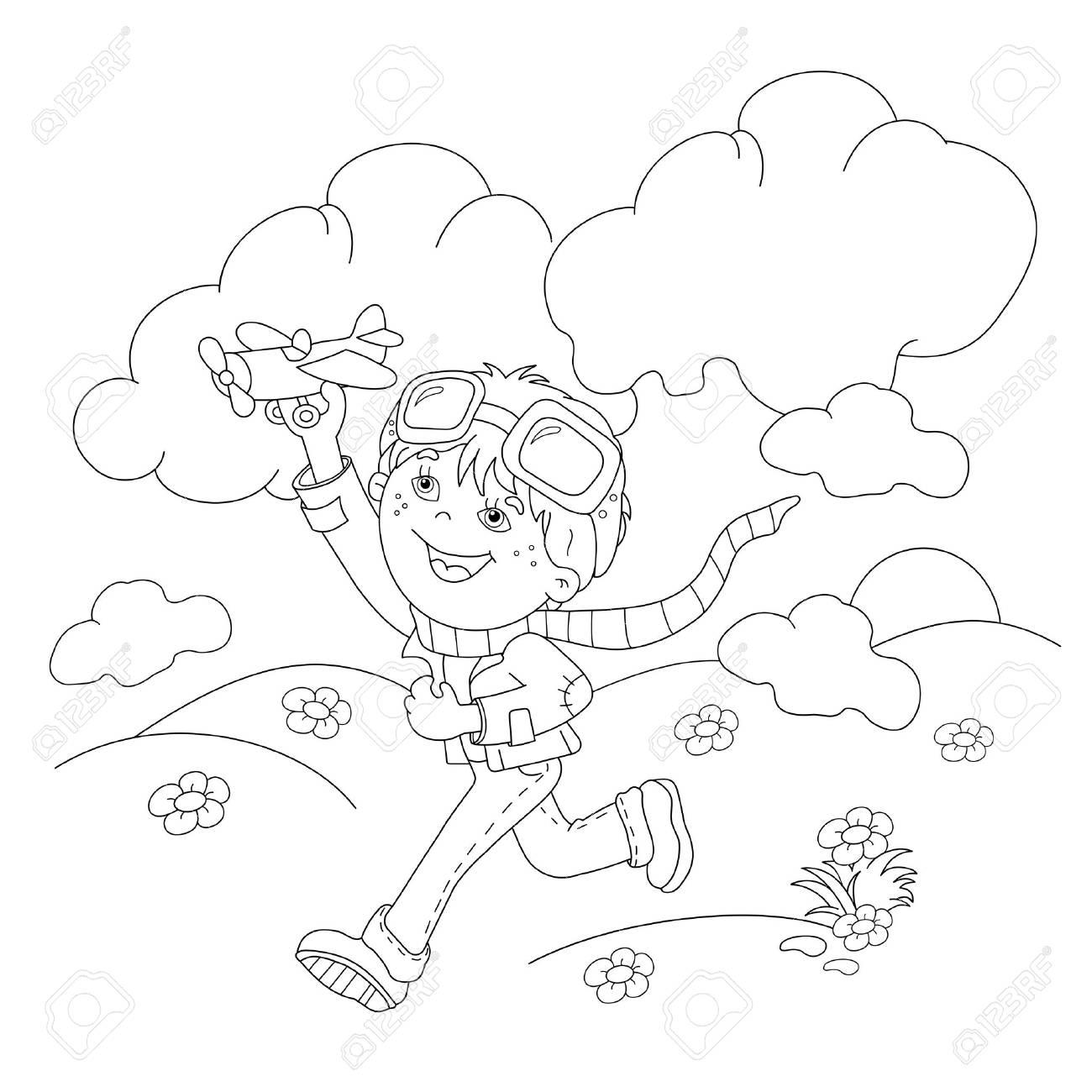 ぬりえページ概要の漫画の男の子おもちゃの飛行機子供のための塗り絵の