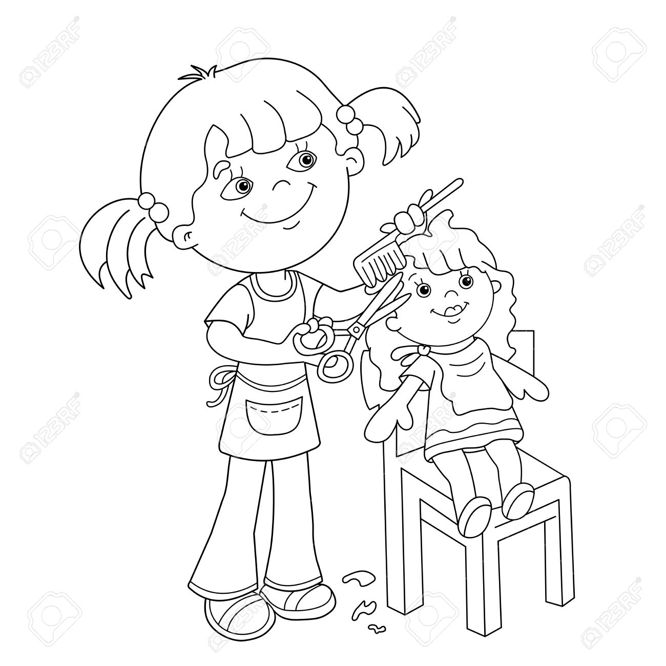 Co coloring book shop - Coloring Page Outline Of Cartoon Girl With Scissors And Comb Playing In The Barber Shop For