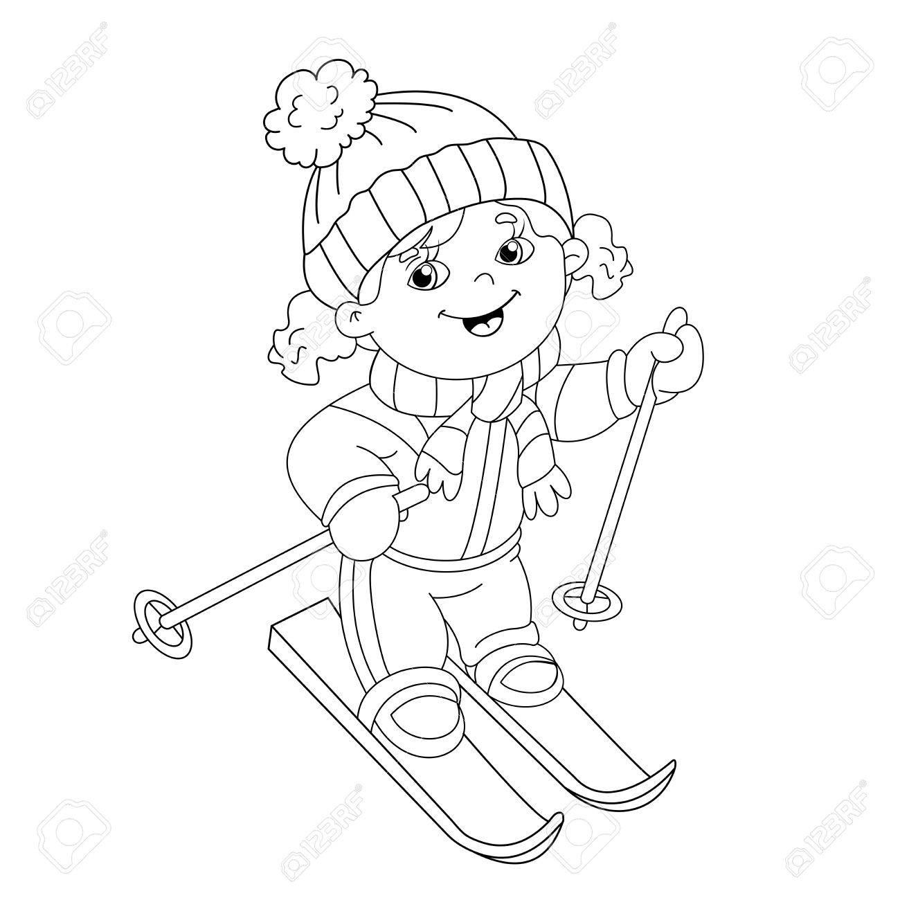Página Para Colorear Esquema De Dibujos Animados Chica Cabalgando ...
