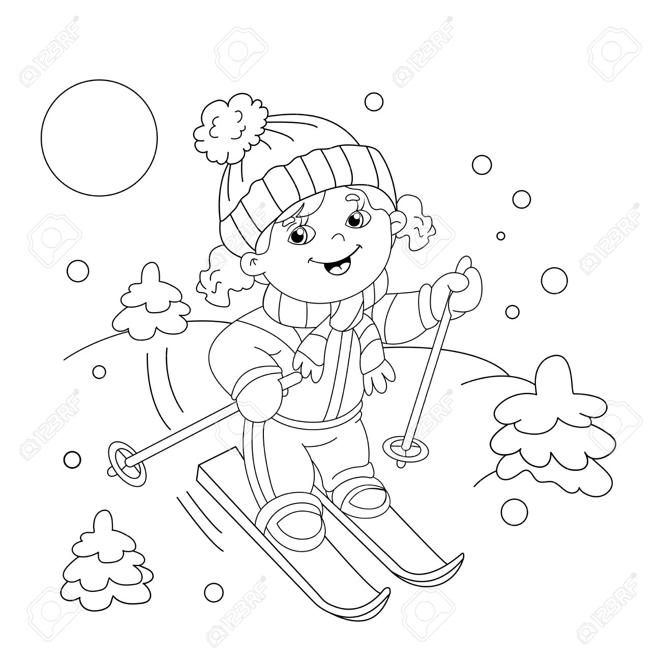 Coloring Page Outline Of Cartoon Girl Riding On Skis. Winter ...