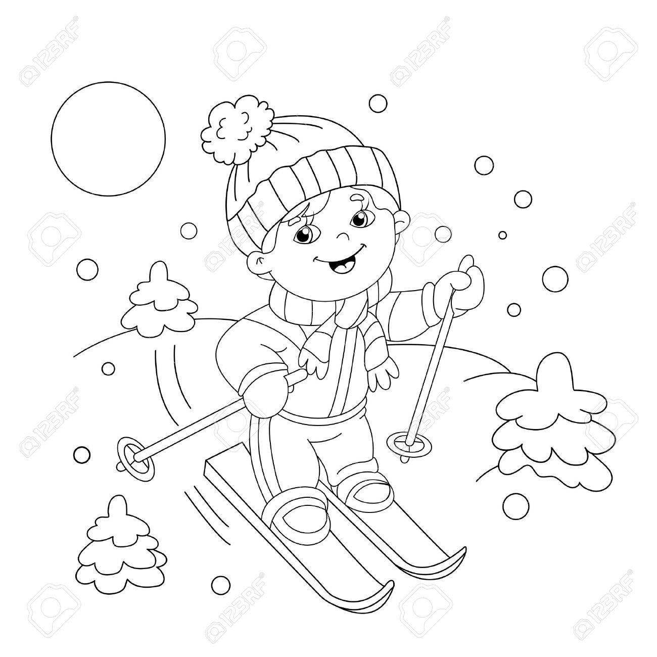 Coloring Page Outline Of Cartoon Boy Riding On Skis. Winter Sports ...