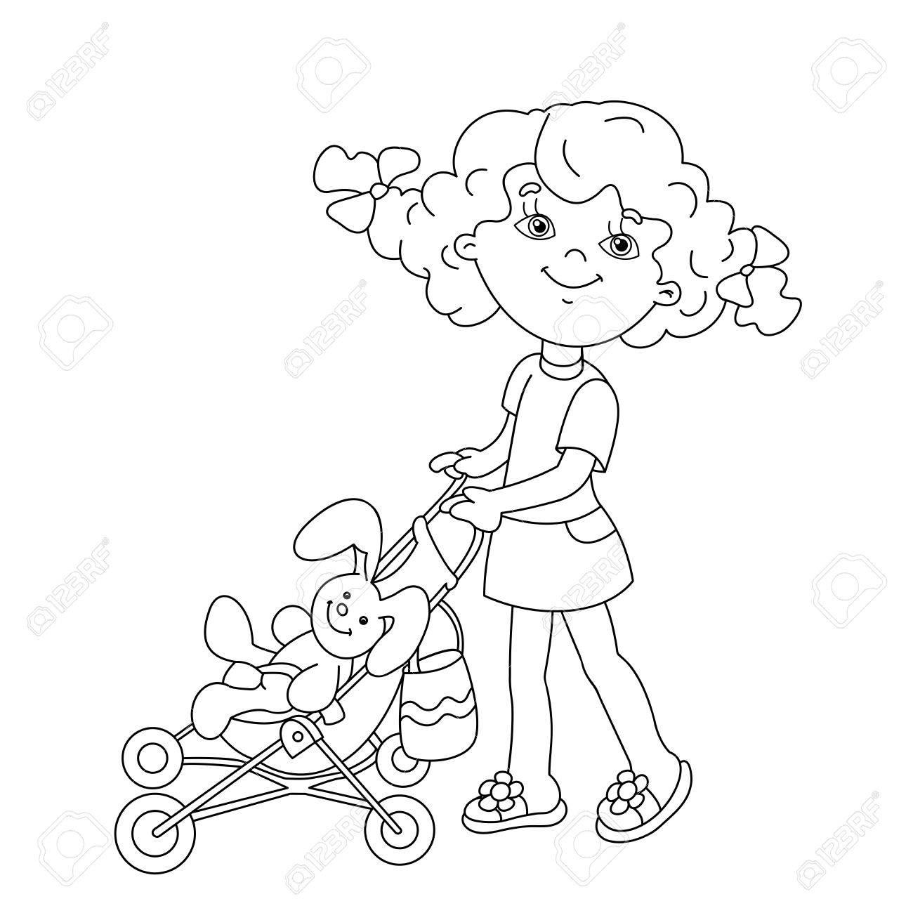 Página Para Colorear Esquema De Niña De Dibujos Animados Jugar Con Muñecas Con El Cochecito De Bebé Libro De Colorear Para Niños