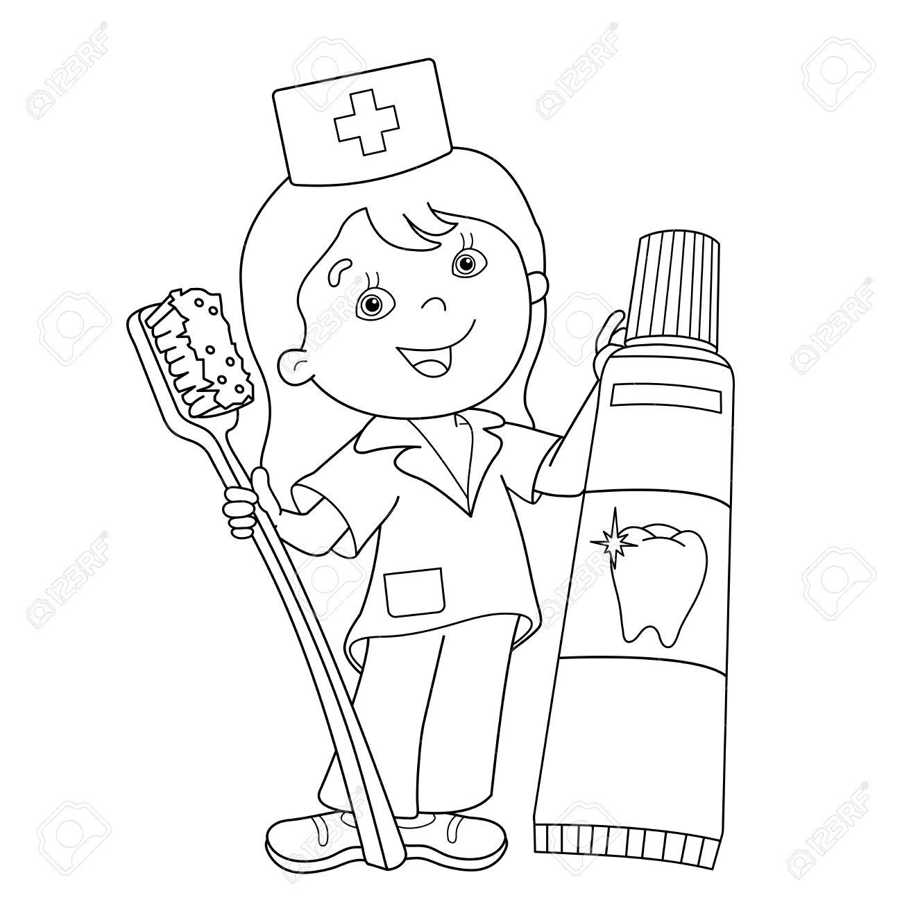 Página Para Colorear Esquema De Dibujos Animados Médico Con El Cepillo De Dientes Y Pasta De Dientes Profesión Medicina Libro De Colorear Para