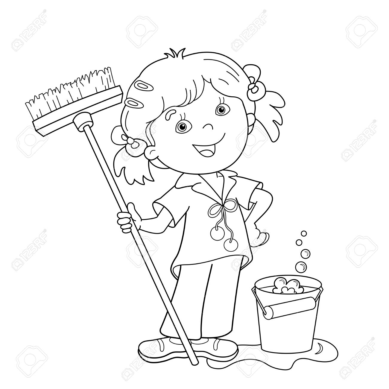 Coloring Page Outline Of Cartoon Girl With Mop And Bucket Housework Washing Floors