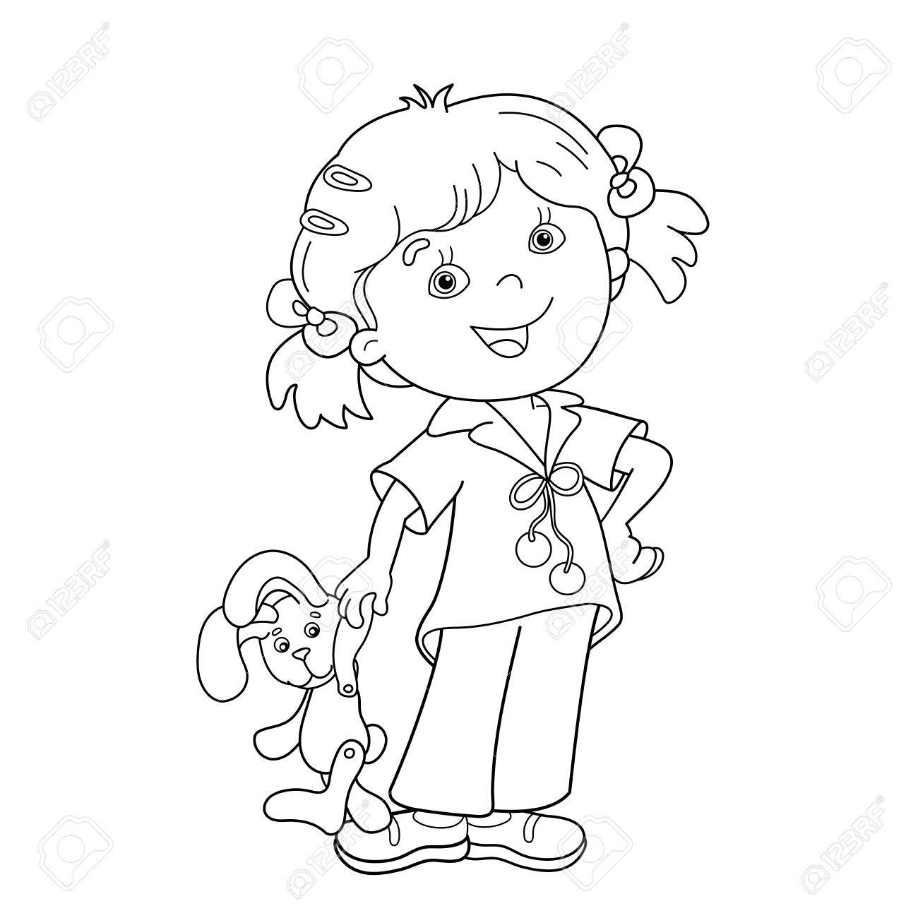coloring page outline of cartoon girl with toy hare coloring book for kids stock vector