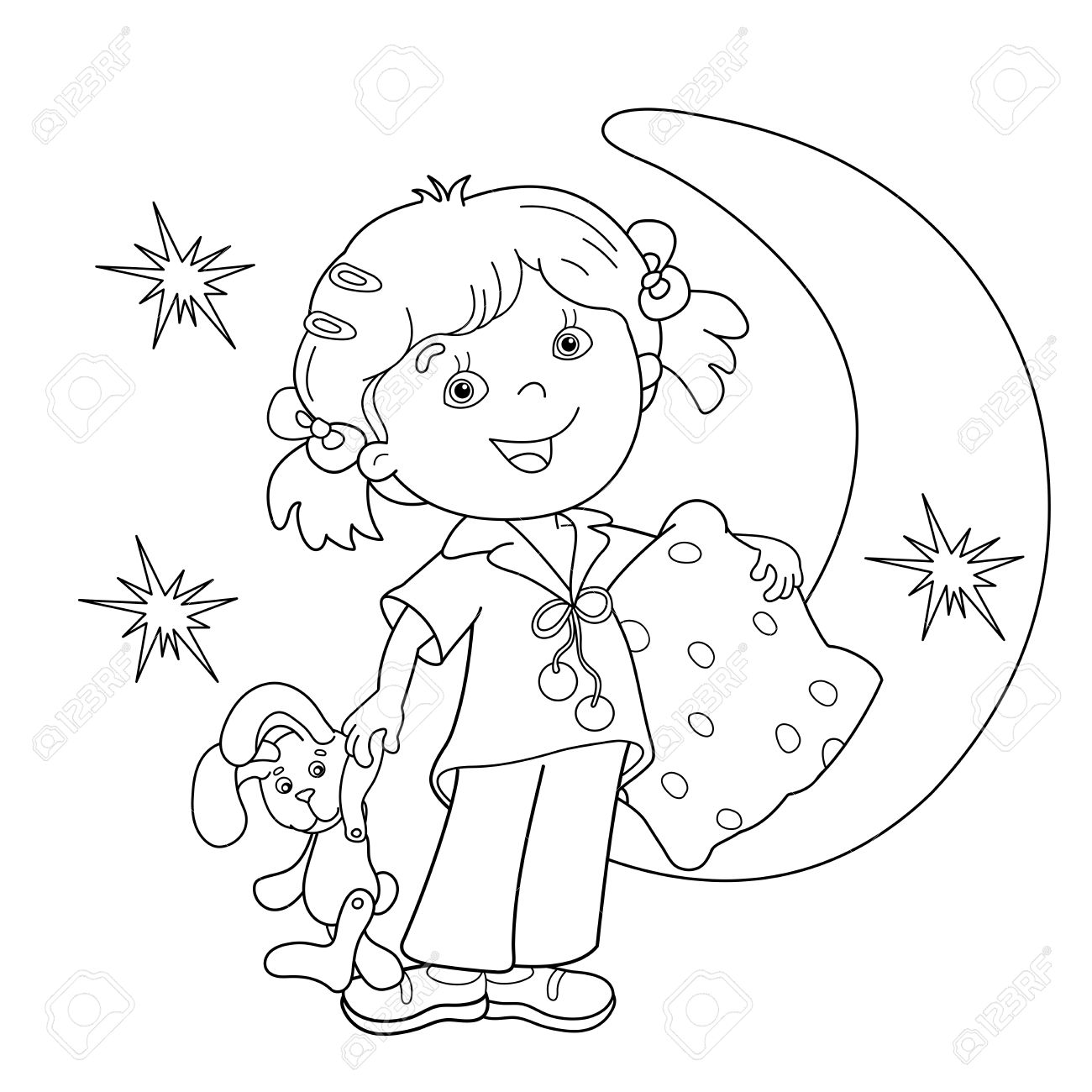 coloring page outline of cartoon girl in pajamas with pillow