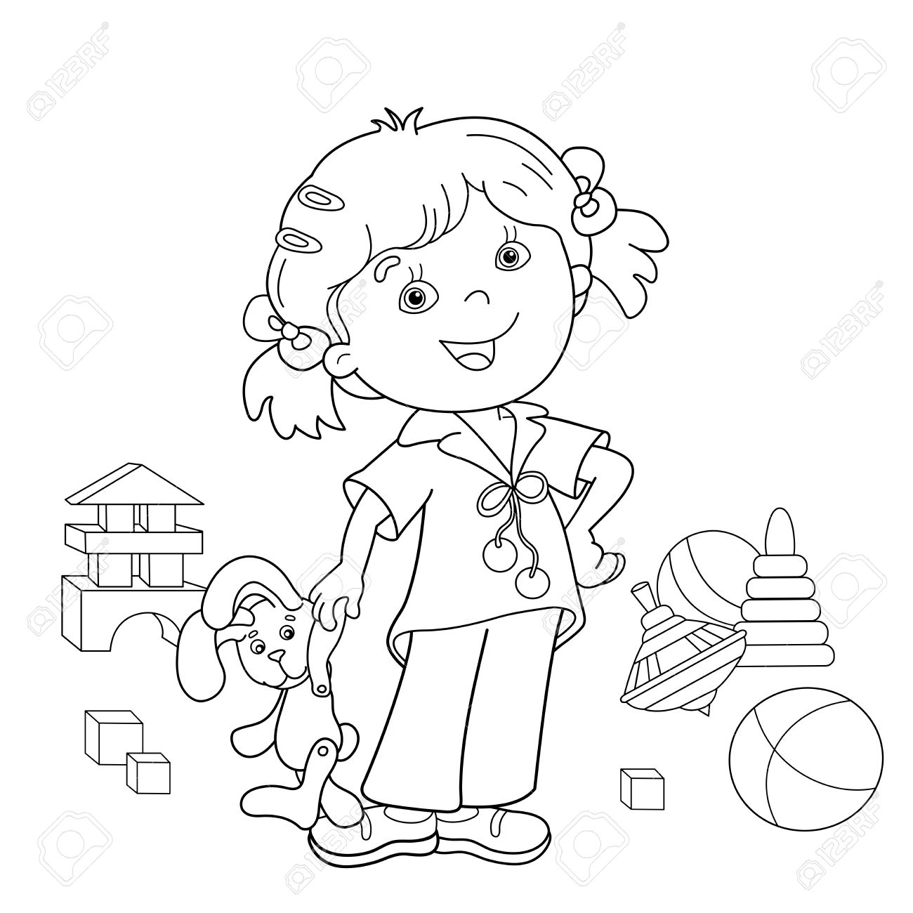 coloring page outline of cartoon with toys coloring book