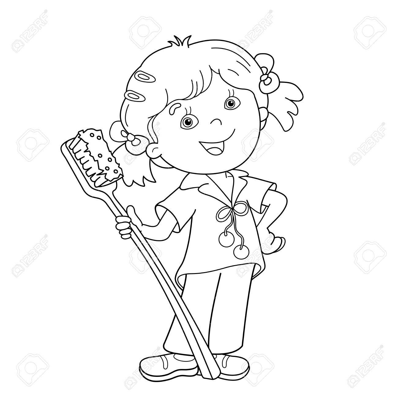 Coloring Page Outline Of Cartoon Girl With Toothbrush Coloring