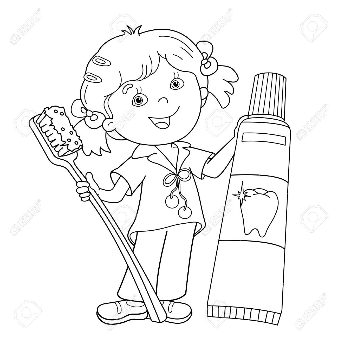 Página Para Colorear Esquema De Niña De Dibujos Animados Con El Cepillo De Dientes Y Pasta De Dientes Libro De Colorear Para Niños