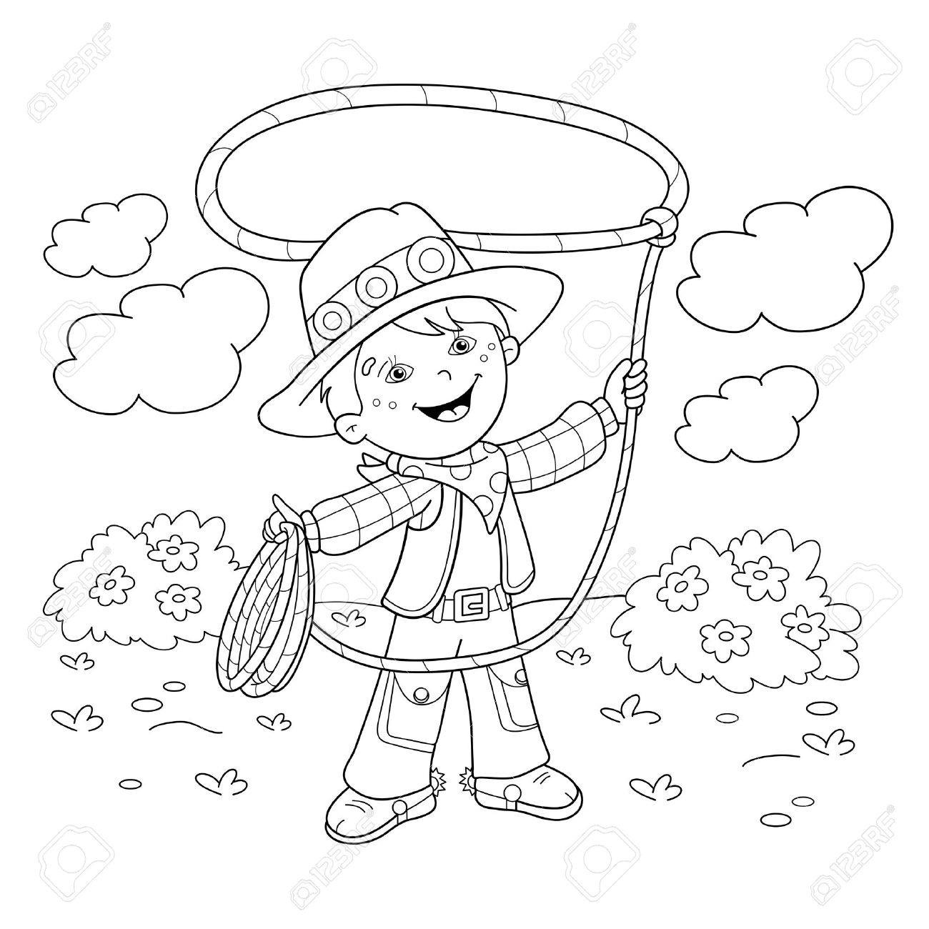 coloring page outline of cartoon cowboy with lasso coloring
