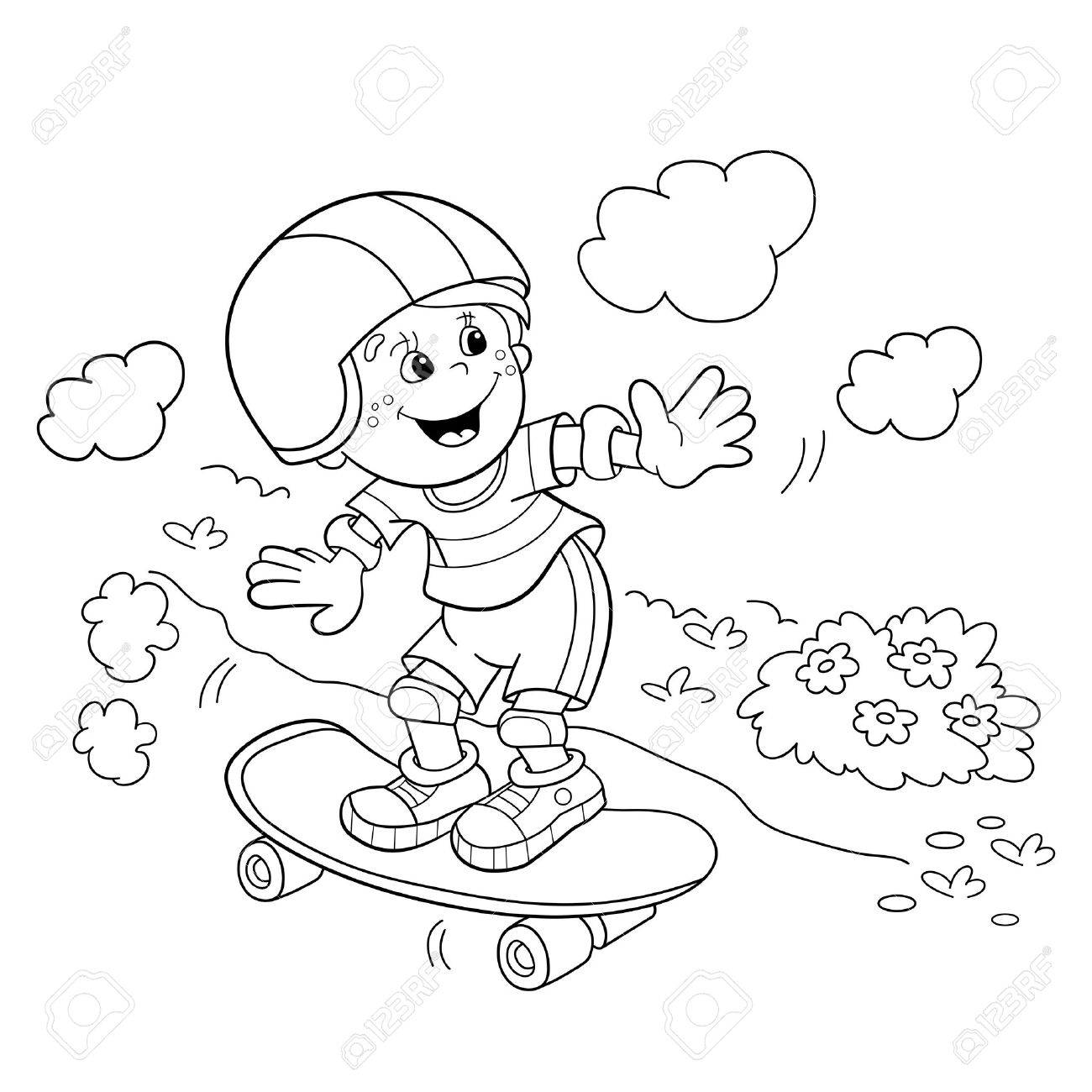 Coloring page outline of cartoon boy on the skateboard coloring