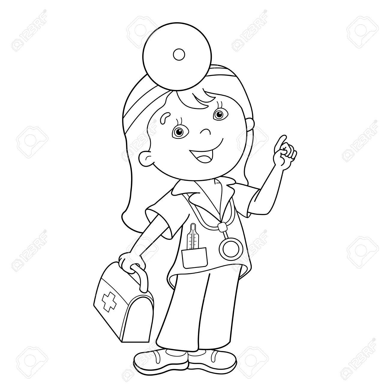 Coloring Book For Kids Page Outline Of Cartoon Doctor With First Aid Kit Profession Medicine