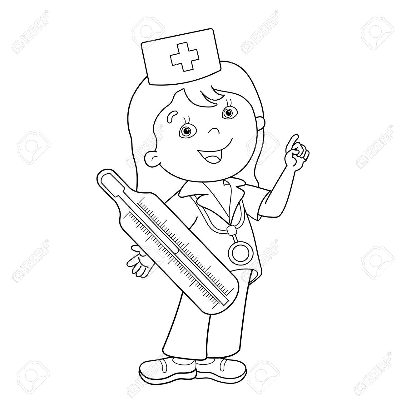 Coloring Page Outline Of Cartoon Doctor With Thermometer. Profession ...